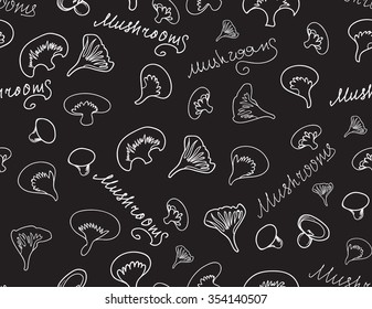 "Vector food and drink seamless texture with mushrooms and words ""Mushroom"" handwritten with chalk on grey board"