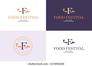 Vector food festival logo template in different color variants isolated. Restaurant, cafe, catering, food service emblem design. Monogram, minimalistic emblem design.