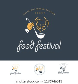 Vector food festival logo template in different color variants isolated. Restaurant, cafe, catering, food service emblem design. Human hand holding scoop and earth smoke icon illustration.