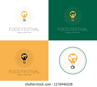 Vector food festival logo template in different color variants isolated. Restaurant, cafe, catering, food service emblem design. Illustration of flying air balloon with earth map, pot.