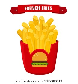 Vector food french fries icon. French fries potatoes in a red packet and the text: French fries. Illustration of french fries in flat minimalism style.