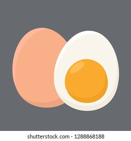 Vector food icon Chicken eggs. An egg in the shell and half an egg with the yolk. Illustration of eggs in flat minimalism style.
