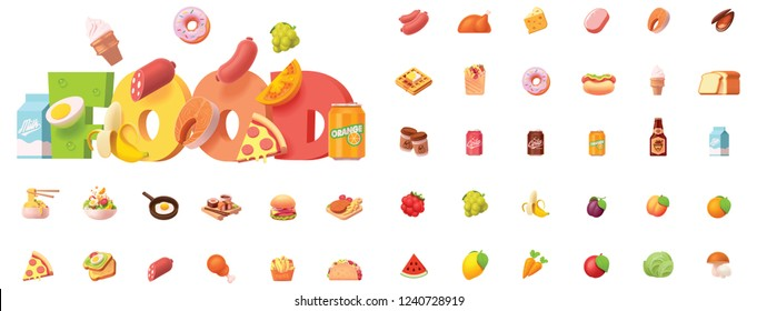 Vector food icon set. Includes cooked dishes, fast food, fruits, vegetables, meat and seafood icons