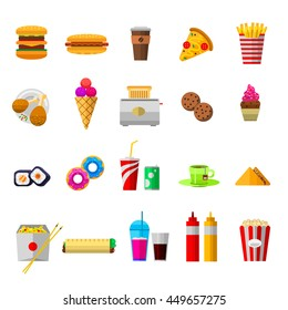 Vector food icons sweet fast food elements