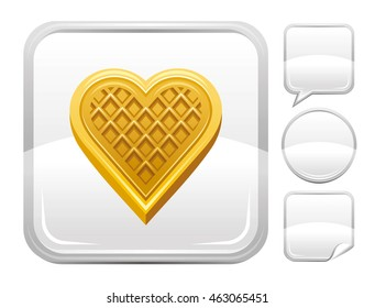 Vector food illustration of heart waffle biscuit. Blank button form set - square, speaking bubble, circle, sticker.