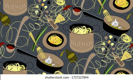 vector food illustration of pasta preparation. italian cuisine clipart, noodles seamless pattern. traditional italian dish sketch. italian restaurant, cafe, diner menu or advertising, home cooking.
