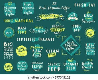 Vector food labels for vegetarian restaurant, cafe, bakery menu. Organic Fresh Coffee. Fresh Natural Organic Food. Raw Vegan Delights. 100% Bio. Take away.Hand drawn stickers. Lettering, calligraphy