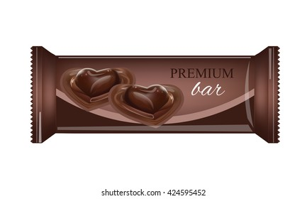 Vector Food Packaging For Biscuit, Wafer, Crackers, Sweets, Chocolate Bar, Candy Bar, Snacks . Chocolate bar Design Isolated On White Background. Food Wrapper.