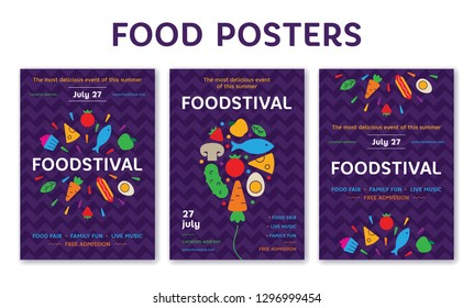 Vector food poster design set. Banner illustration with fruit and vegetable icons for festival, market, fair, shop. Graphic firework symbol backgrounds with fresh products, cake, hotdog