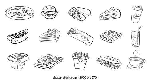 Vector food scetch icon pattern