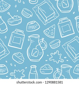 Vector Food Seamless Pattern. Hand Drawn Sketch Doodle Dairy Products Background