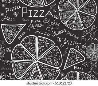 """Vector food vector seamless texture with pizza slices and handwritten words """"Pizza"""", chalk on grey board effect"""