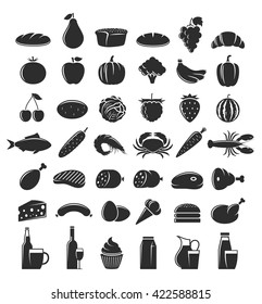 Vector foods and drink icons. Meat, seafood, fruits and vegetables