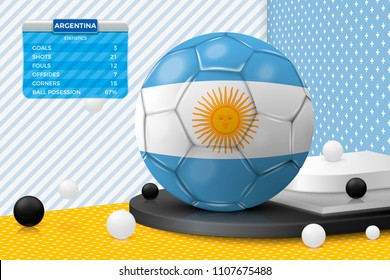 Vector football ball with Argentina flag, scoreboard, isolated in corner wall abstract scene with podium, white and black objects.