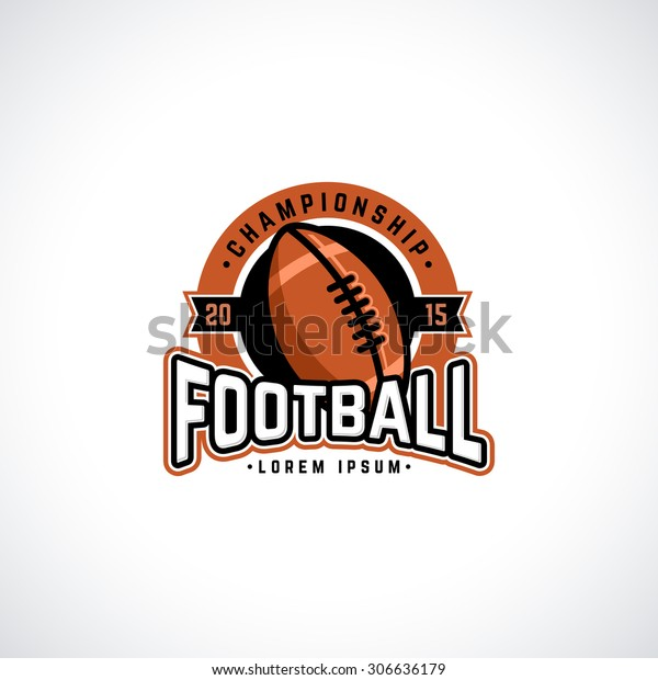 Vector football championship logo with ball. Sport badge for tournament or championship.