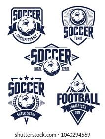 Vector Football Emblems set. Retro styled soccer badges isolated on white background. Soccer team logo templates.
