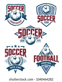 Vector Football Emblems set. Retro styled soccer badges isolated on white background. Soccer team logo templates.