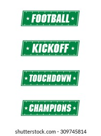 Vector Football Field Icon Set with Messaging