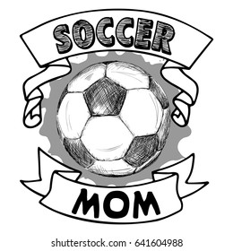 Vector Football illustration with the ball, splash, ribbons and words Soccer Mom on white background. You may use for t shirt design, banners, stickers