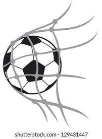 vector football (soccer) ball in net