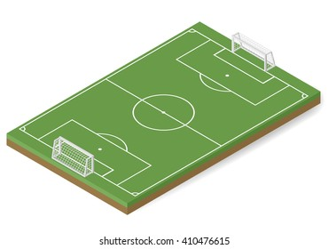 Vector football and soccer sport field isometric.