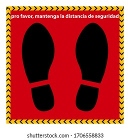 Vector of footprint sign in red color with text keep your distance in Spanish , 1m social distancing for print floor to protect from Covid-19, Coronavirus outbreak spreading. Vector illustration.