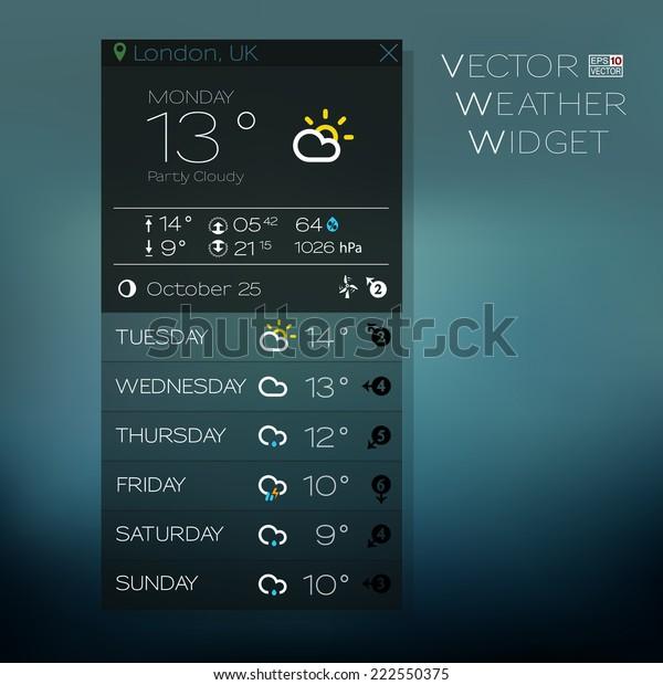 Vector Forecast Widget Blue Tones Vertical Stock Vector (Royalty