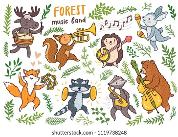 Vector forest dancing animals: fox, raccoon, badger, bear, rabbit, hengehog, squirrel, moose. Set of cute woodland animals with music instruments. Childish illustration. Funny cartoon characters.