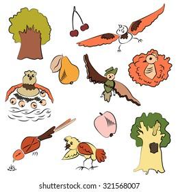 Vector forest design, cute birds in childish style. Cartoon set EPS10.