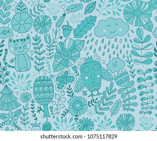 Vector forest design, floral seamless pattern with forest, flowers, owl, trees