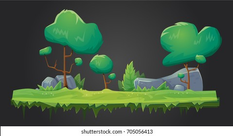 Vector forest green organic background for game ui design. Vector illustration of trees, grass and rocks for parallax effect