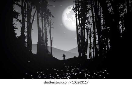 vector forest at night with moon stars and man