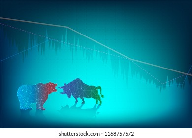 vector of forex trading indicators graph bull and bear market, trade online concept