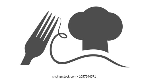 Vector fork with spaghetti and cook's hat with a mustache. Black symbol for restaurant menu.