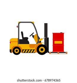 Vector forklift truck with lifted red barrel isolated flat stock illustration icon loader