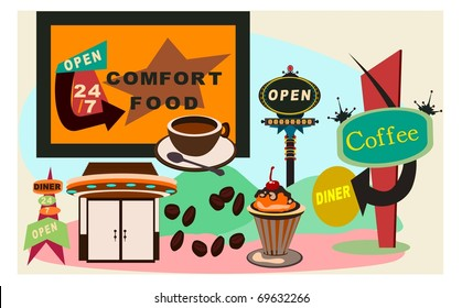 In Vector Form With Spirit Of Retro 50s Diner Americana Billboard Sign Mind