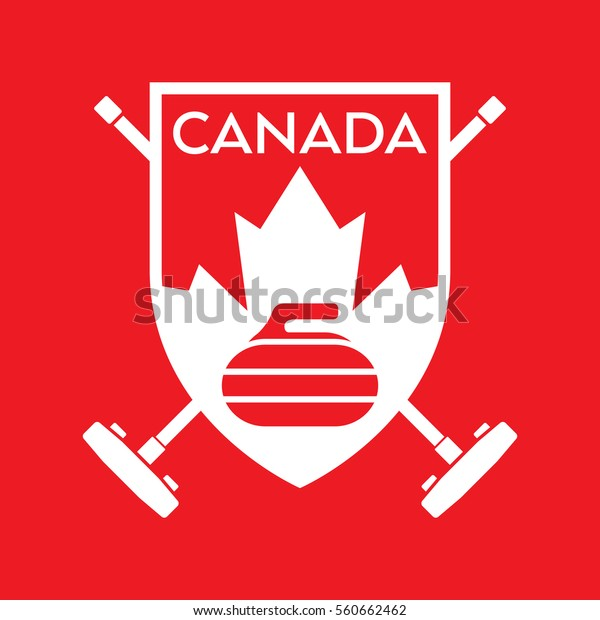 A vector format Canadian curling badge featuring a rock, a maple leaf and two crossed brooms in the background.