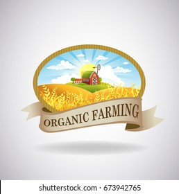 Vector format label with the image of a farm, fields and pastures. The good choice for Logo, emblem, lable, sticker