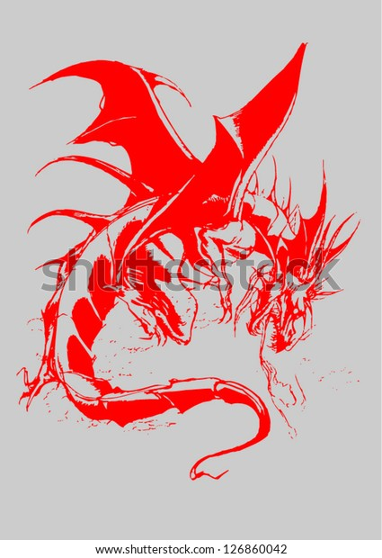 Vector Format Winged Dragon Old Red Stock Vector Royalty