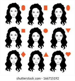 vector forms of womens head, types of face shape