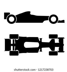 Vector formula race car icon, logo on white background