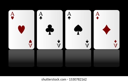 Vector. Four aces playing cards.