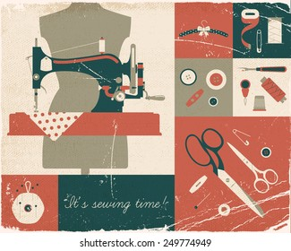 Vector four colored retro style wall art printable decorative poster on hand craft, sewing and stitching with vintage sewing machine and craft supplies. Old paper texture on separated layers.