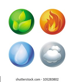 Vector four elements - fire, water, ground, air