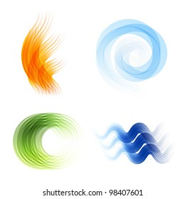 Vector four elements.Fire,air,nature,water.