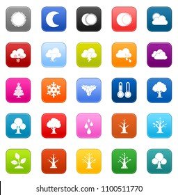 vector four seasons icons - spring, winter, summer and autumn weather sign symbol
