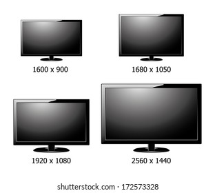 vector of four size resolution (1600x900,1680x1050 ,1920x1080,2560x1440 ) flat display  screen isolated