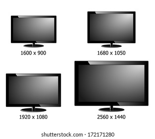 vector of four size resolution (1600x900,1680x1050,1920x1080,2560x1440) flat display screen isolated
