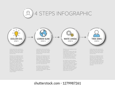 Vector four steps progress template with descriptions and icons
