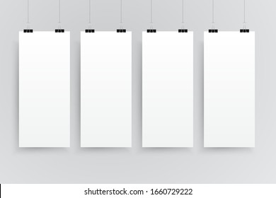 Vector four vertical rectangle format paper sheets on grey background. Empty sheet of paper template portrait orientation. Four sheet, poster, banner, background, blank, frame